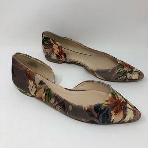 Nine West Sz 10 Floral Flats Observe D'Orsay Shoes